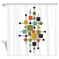 Eames-Era Squares Art Shower Curtain on CafePress.com
