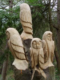 Four owls carving Chainsaw carving of four owls by Steve Iredale on the new sculpture trail in Errington Woods near New Marske. Each owl is carved from a separate trunk of one tree, in situ. Chip Carving, Tree Carving, Wood Carving Art, Wood Art, Wood Carvings, Chainsaw Carvings, Tree Sculpture, Sculptures, Chain Saw Art