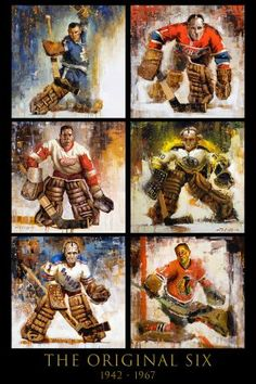 Hockey art print with paintings of six goalies from the Original Six hockey teams by Jerry R. Quality canvas print ready to hang. Various sizes and framing options. Chicago Hockey, Boston Bruins Hockey, Blackhawks Hockey, Pittsburgh Penguins Hockey, Hockey Goalie, Hockey Teams, Chicago Blackhawks, Ice Hockey, Hockey Girls