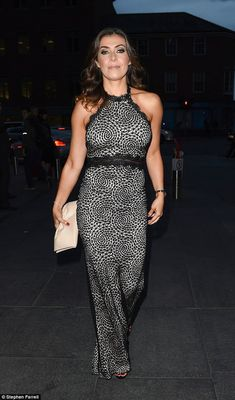 Sexy: Amping-up the glamour for the formal occasion, the brunette poured herself into a figure-hugging number for maximum impact Sexy Older Women, Sexy Women, Kym Marsh, Jennifer Aniston Style, The Brunette, Floor Length Dresses, Satin Dresses, Female Models, Celebs