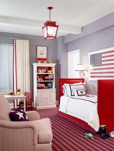 Red, White & Blue Nursery by Ashley Whittaker Design on Nursery Notations