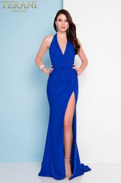 Stunning halter dress with plunged neckline and back. This dress finishes with a sexy high thigh slit. Perfect for prom or any special occasion Royal Blue Prom Dresses, Prom Dresses For Sale, Pageant Dresses, Formal Evening Dresses, Cute Dresses, Evening Gowns, Corsage, Terani Dresses, Amanda