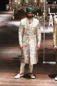 Sabyasachi Sherwani on Happy Shappy. Browse the great collection and latest designs like on rent, price, cost, Ranbir Kapoor's style and Sherwani For Men Wedding, Wedding Dresses Men Indian, Sherwani Groom, Indian Wedding Wear, Mens Sherwani, Wedding Groom, Bling Wedding, Punjabi Wedding, Wedding Outfits