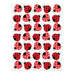 Red Ladybug Baby Scrapbook Paper Customized Letterhead