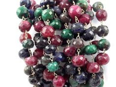 Semi Multi Hydro Gemstone Gold Plated Beaded Rosary Wire Link Craft Making Chain