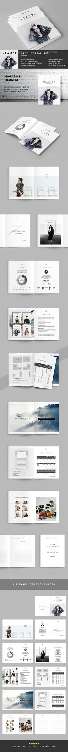 Professional, Fresh and Clean Magazine Media Kit Template InDesign INDD #design Download: http://graphicriver.net/item/magazine-media-kit/14011538?ref=ksioks