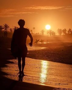 Surfing, Silhouette, Celestial, Sunset, Beach, Outdoor, Art, Outdoors, Art Background