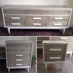 Mid Century Buffet/ Dresser , Chalk painted creamy white , two tone weathered wood  finish.