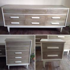 Mid Century Buffet/ Dresser , Chalk painted creamy white , two tone weathered wood  finish.