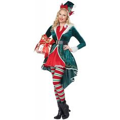 Female Sexy Elf Costume Christmas Fancy Dress - Christmas Costumes at Escapade™ Womens Elf Costume, Sexy Costumes For Women, Elf Fancy Dress, Christmas Fancy Dress, White Christmas, Christmas Elf Costume, Christmas Costumes, Halloween Costumes, Santa Costume