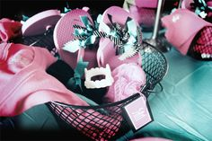 Close up of Spa goodie basket. Monster High Spa birthday party.
