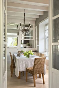 A beautiful house in the Spanish Basque Country Farmhouse Design, Rustic Farmhouse, Basque Country, Rustic Elegance, Living Room Kitchen, Beautiful Homes, Dining Table, Dining Rooms, Kitchen Design