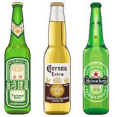 Beers as #pixel #art , including Taiwan beer.