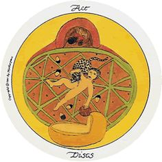 Discs in the Motherpeace deck are what are sometimes known as Pentacles or coins in others. Discs are not only about money or the material world, but health, comfort, feeling good in body, and work Ace Of Pentacles, Tarot Astrology, Playing Card Games, Material World, Cartomancy, Tarot Readers, Tarot Decks, Archetypes, Deck Of Cards