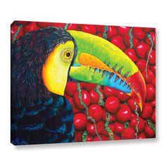 ArtWall Daniel Jean-Baptiste's 'Rainbow Toucan' Gallery Wrapped Canvas