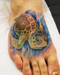 Sea turtle foot tattoo