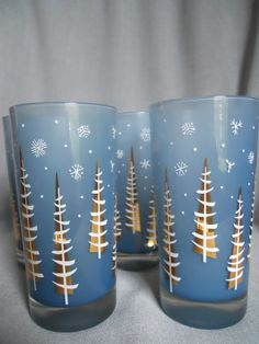 Set of 4 Vintage Frosted Blue Tom Collins Tall Glasses, Christmas Trees, Winter, New Years. Holiday Barware, 1960s - 1970s