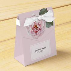 Country Watercolor Rose Wedding Favor Box #wedding #kraft #custom #bridekraft #floral #flowers