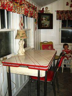 vintage red metal table