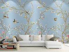 大型立体无缝清新美式花鸟定制墙纸壁画牡丹壁纸墙画影视墙背景墙-淘宝网