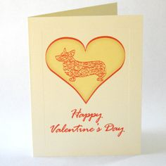 Corgi Dog Valentines Day Cards Pack of 4 by doggydesign on Etsy, $7.99