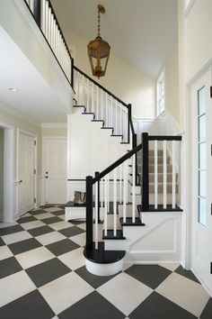 Painted Stairs Design Ideas, Pictures, Remodel, and Decor - page 4 Black Banister, White Staircase, White Hallway, Staircase Landing, Iron Staircase, Black And White Stairs, Black And White Tiles, Pure White, Black White