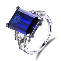 Jewelrypalace Women's 925 Sterling Silver Ring Emerald Cut 9.64ct Created Blue Sapphire