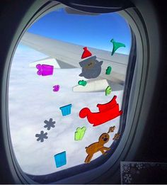Keep toddlers entertained on a flight by letting them play with gel clings on the window.