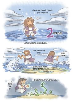 creation day by kokecit on DeviantArt Christian Comics, Christian Cartoons, Christian Artwork, Christian Pictures, Christian Quotes, Bible Verses For Kids, Bible Study For Kids, Jesus Cartoon, Pictures Of Jesus Christ