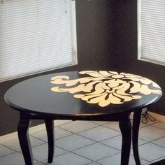 stenciled table ideas | onto the table i off centered it on the table