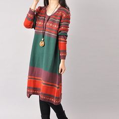 Women's retro style pullover cotton knitting dress