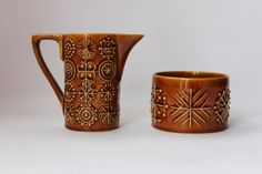 Portmeirion amber Totem sugar and cream set by MillCottageRetro, £10.00