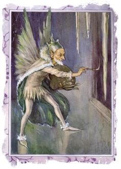 'Jack Frost' - Illustration by Margaret W. Tarrant for the book 'Weather Fairies' (Marion St John Webb) Jack Frost, Cicely Mary Barker, Arthur Rackham, Wolf Moon, Beautiful Fairies, Arte Popular, Fairy Art, Magical Creatures, Les Oeuvres