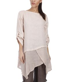 Look what I found on #zulily! Pink Mesh Linen Handkerchief Tunic - Plus by 100% LIN #zulilyfinds