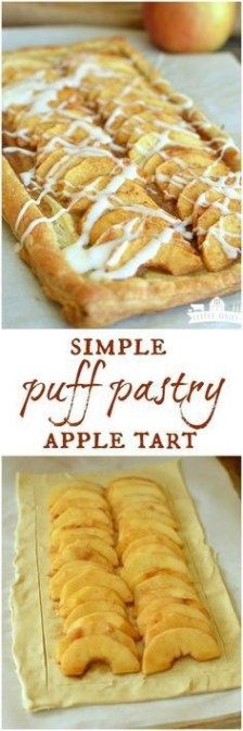 Simple Puff Pastry Apple Tart Simple Puff Pastry Apple Tart 55 mins to make, serves and easy. I used honey crisp apples. Tasty Pastry, Puff Pastry Desserts, Puff Pastry Recipes, Tart Recipes, Apple Recipes, Sweet Recipes, Baking Recipes, Puff Pastries, Apple Tart Puff Pastry