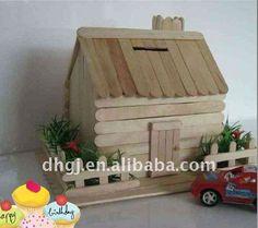 Popsicle Stick Buildings | Natural Wood Cute Pet Popsicle Stick House - Buy Popsicle Stick House ...