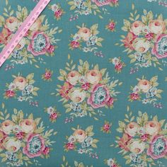 """FREE SHIPPING Tilda Garden Flowers Ocean Green Fabric / """"Spring Diaries"""" Collection - Half Metre/0.54yard by FabriClutter on Etsy"""
