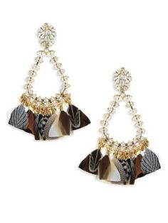 Rebecca de Ravenel Olympia shell and gold-plated hoop earrings Cxoy89
