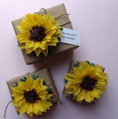 Wedding Favor -10 Tissue Paper Sunflowers - Perfect Decorations for Summer Wedding, July 4th, Birthday & Baby Shower via Etsy