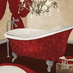 Red Guest Bathroom II Art Print by Elizabeth Medley at Art.com