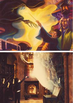 """Art to Film: Professor Lupin teaches Harry the Patronus charm...""""A Patronus is a kind of positive force, and for the wizard who can conjure one, it works something like a shield, with the Dementor feeding on it, rather than him. In order for it to work, you need to think of a memory. Not just any memory, a very happy memory, a very powerful memory…Allow it to fill you up… lose yourself in it…then speak the incantation 'Expecto Patronum'"""" o-o"""