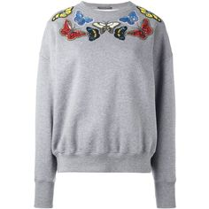 Alexander McQueen Embellished Butterfly Sweatshirt (£950) ❤ liked on Polyvore featuring tops, hoodies, sweatshirts, grey, embroidered sweatshirts, gray sweatshirt, cotton sweatshirts, long sleeve cotton tops and sequin sweatshirt