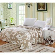 Ben&Jonah Designer Plush Queen MadisonMicro Fleece Jacquard Blanket -Beige
