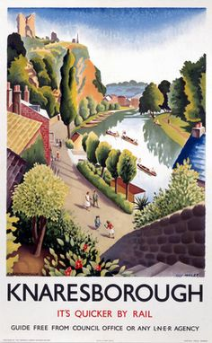 Vintage UK Railway Poster. Knaresborough is an historic market town, spa town and civil parish in the Borough of Harrogate, North Yorkshire