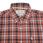 Jack Wills Shirt Men Size S Orange Gray Plaid French Cuffs Regular Fit Cotton