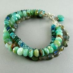 Triple Strand Gemstone Bracelet Peruvian Opal Apae And Labradorite By Surfandsand On Etsy