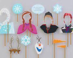 SALE - 60% OFF Frozen Props Complete Characters for Frozen Birthday Party. Instant Download Frozen Printables. DIY Frozen photobooth props..