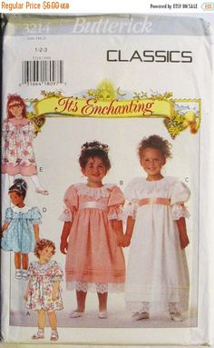 40% OFF SALE 1990s Childrens Sewing Pattern Butterick 3214 Toddlers Dress Pattern Size 1, 2, 3 Uncut by SewYesterdayPatterns on Etsy