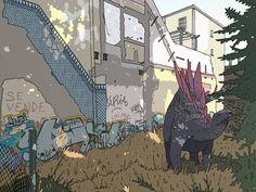 Stegosaurus en un solar de la avenida Ramón y Cajal by Franxurio