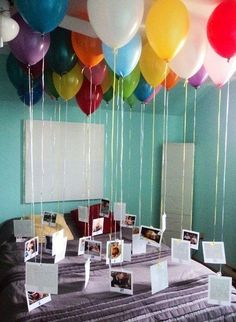 Balloons tied down with crayons and a picture for the kids to color, instead of pictures?